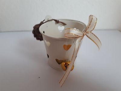 Vánoční svícínek v kbelíčku – zlatý